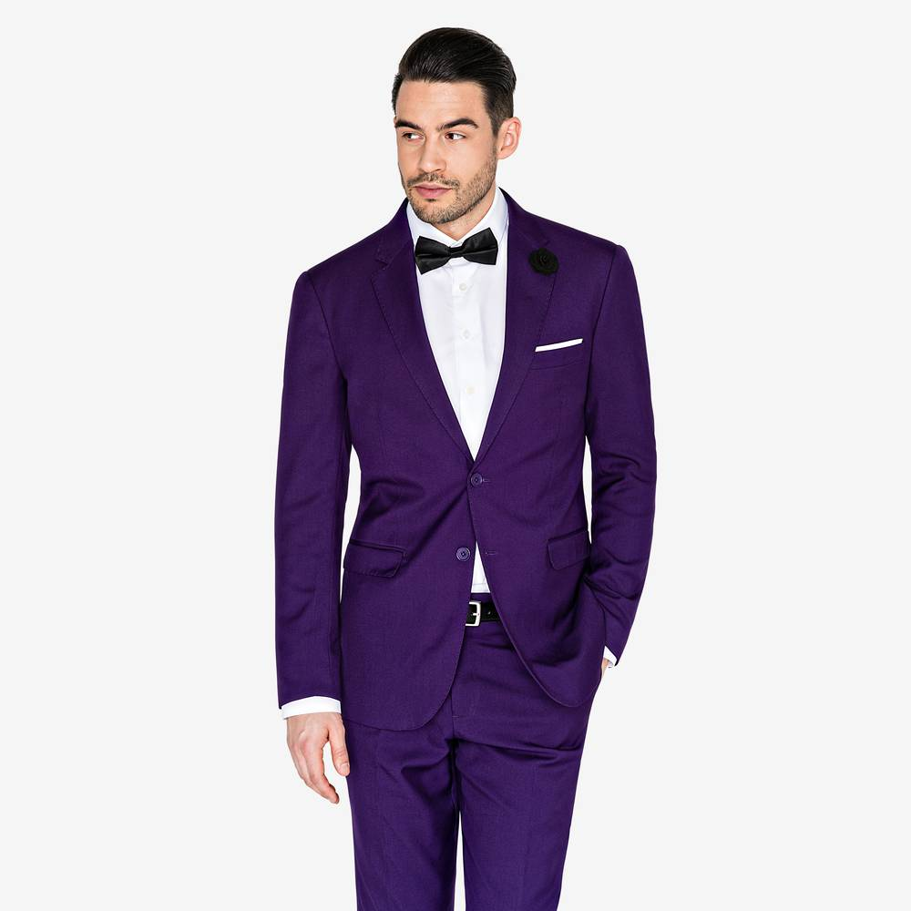 Black suit light purple shirt